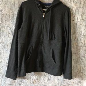 Dark gray jacket with hood